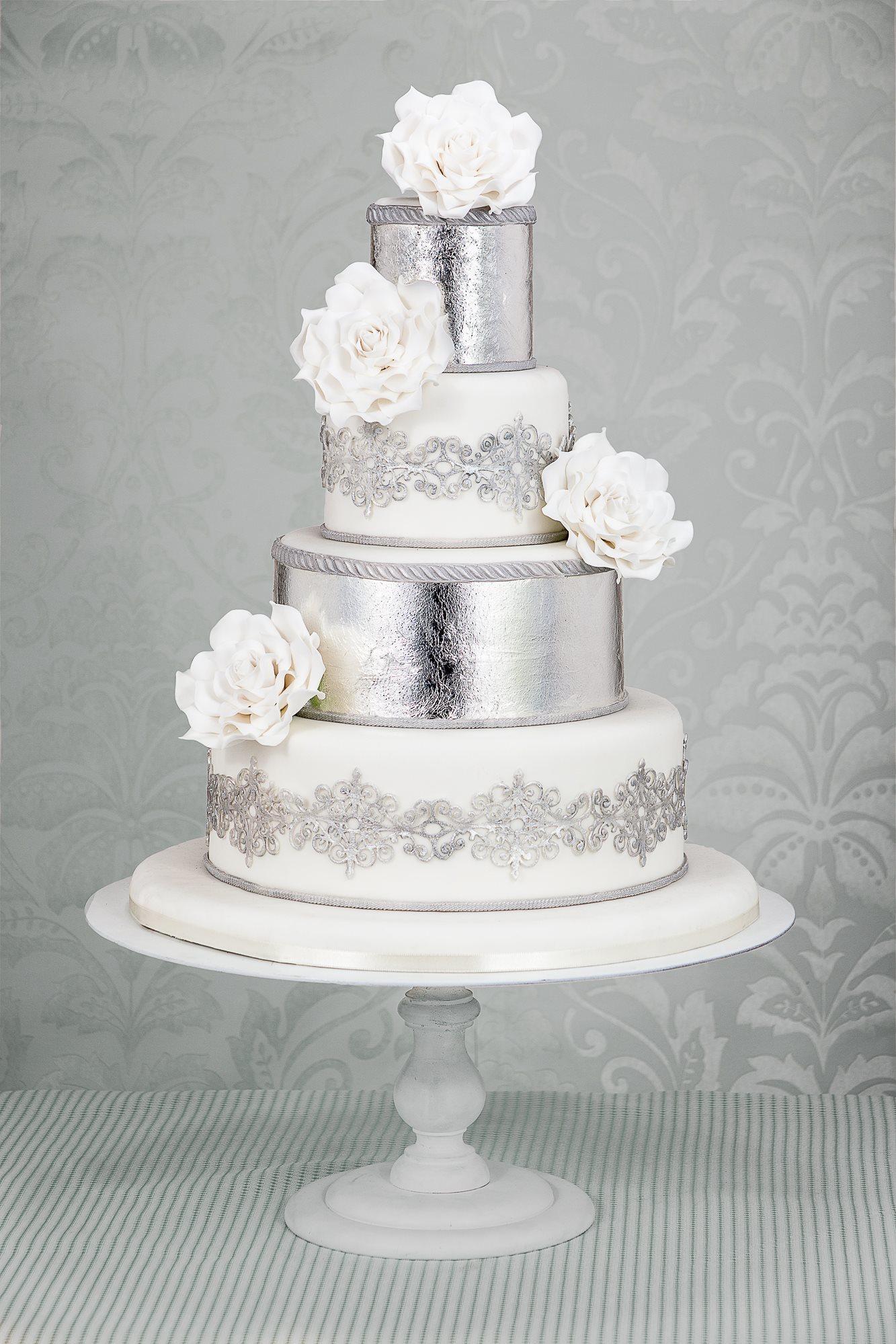 White & Silver fondant Wedding cake