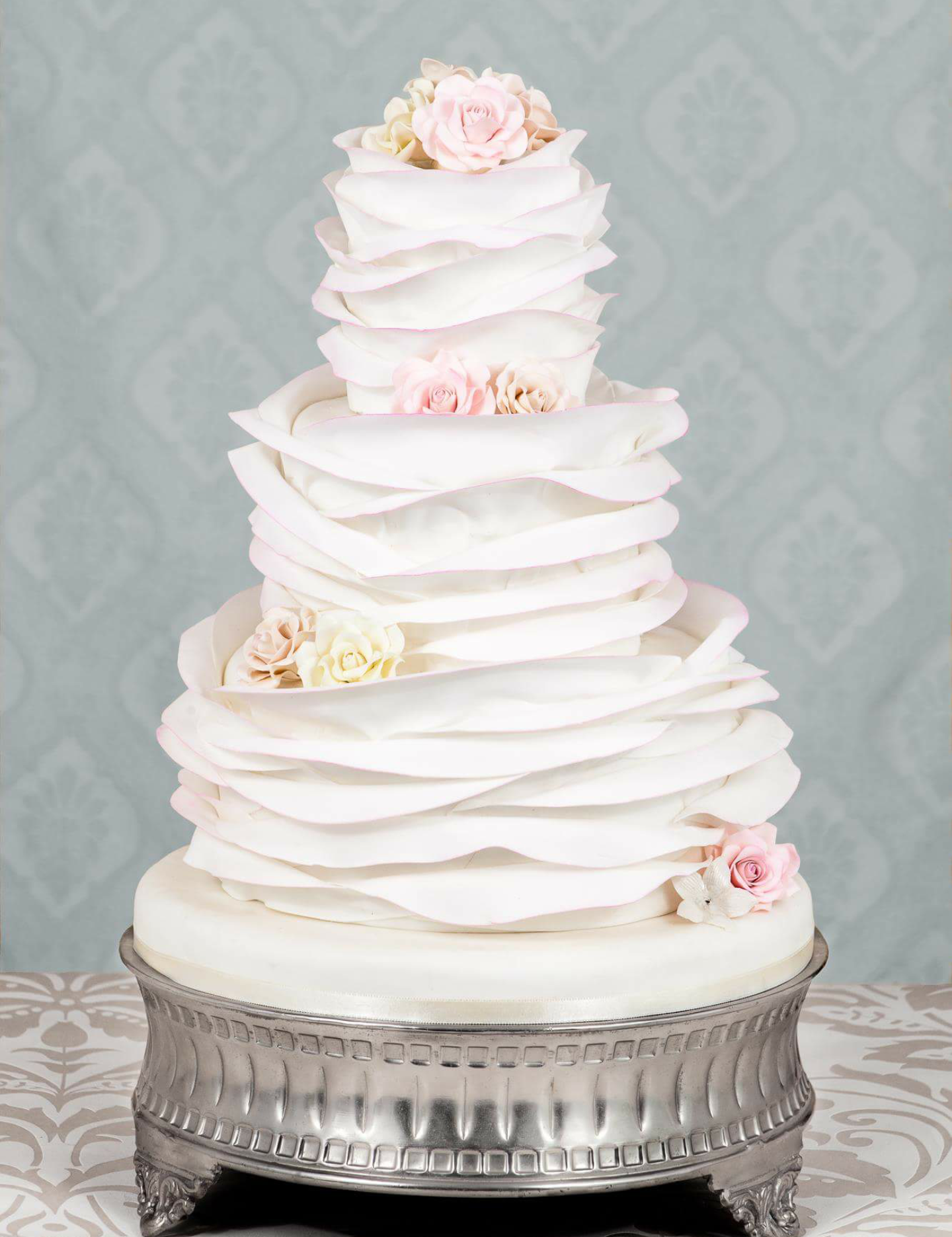 White ruffled wedding