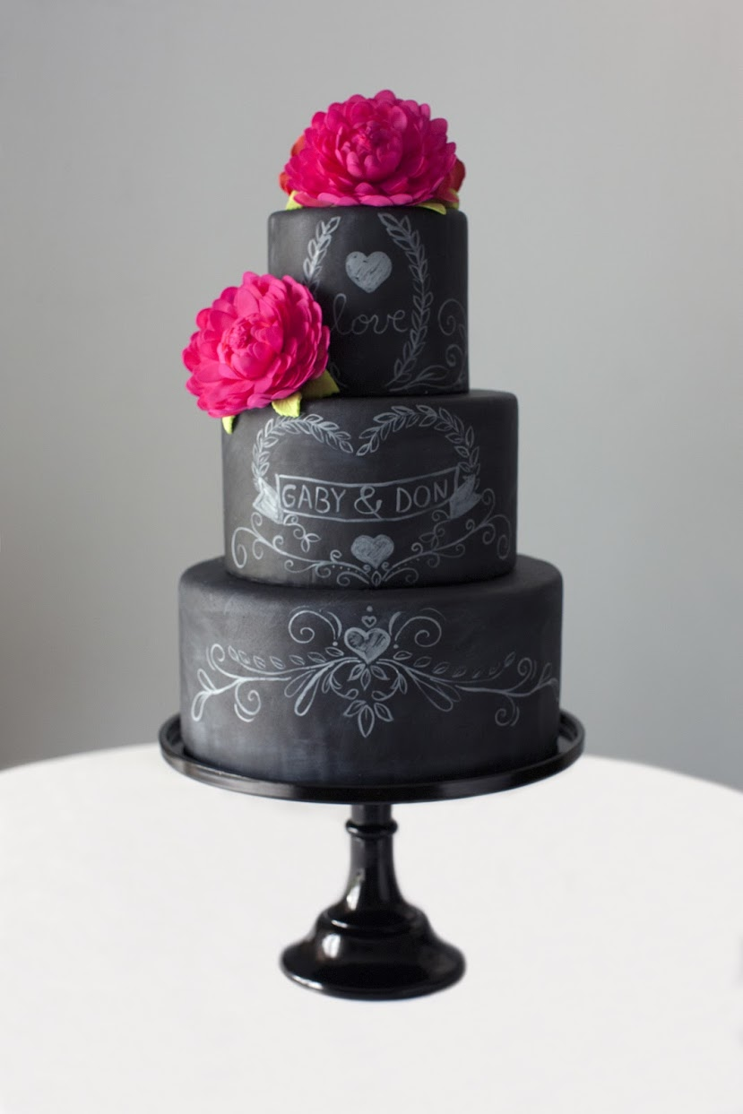 black with red roses gothic victorian wedding cake
