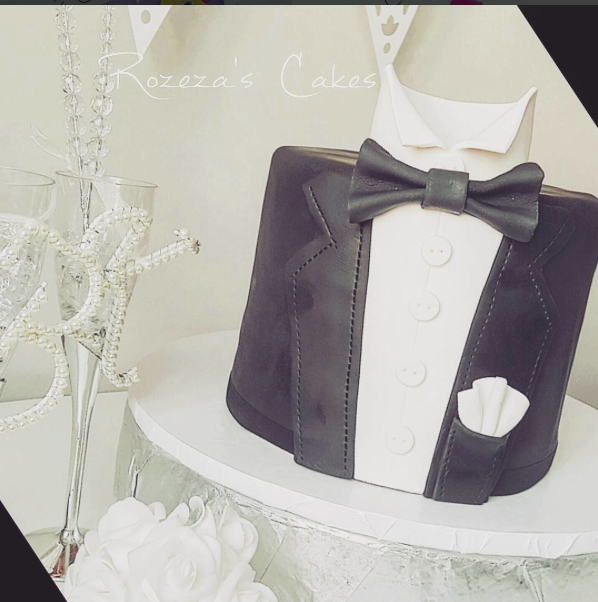 Black and White Tux Grooms Cake