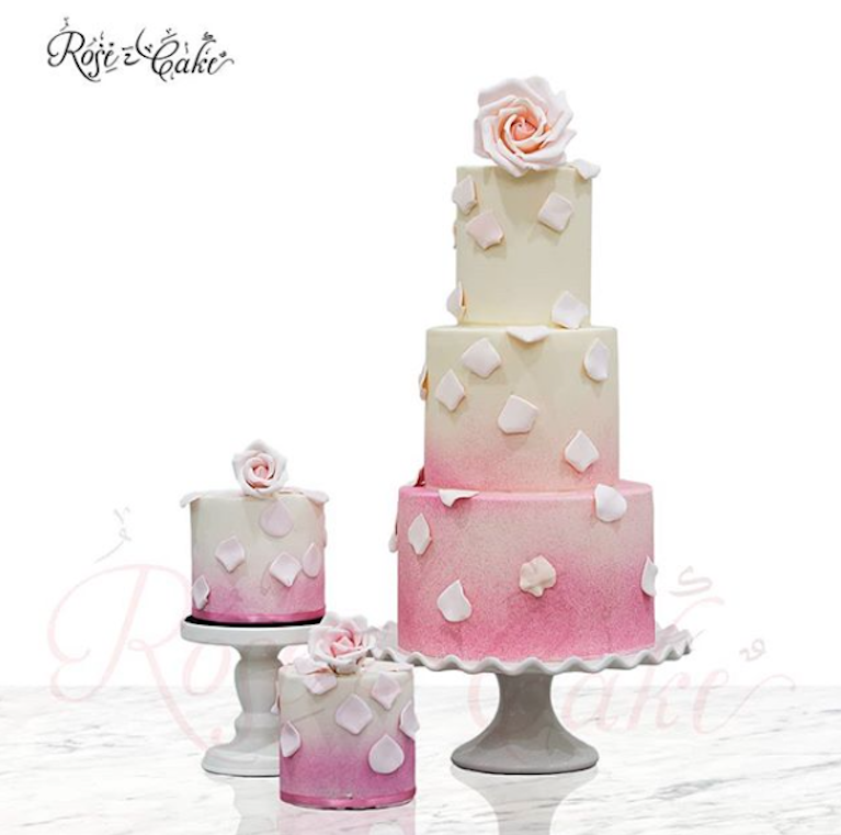 White and pink watercolor fondant rwedding cake