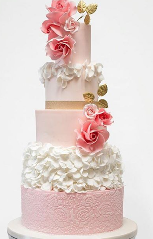 Baby pink and white fondant ruffle wedding cake