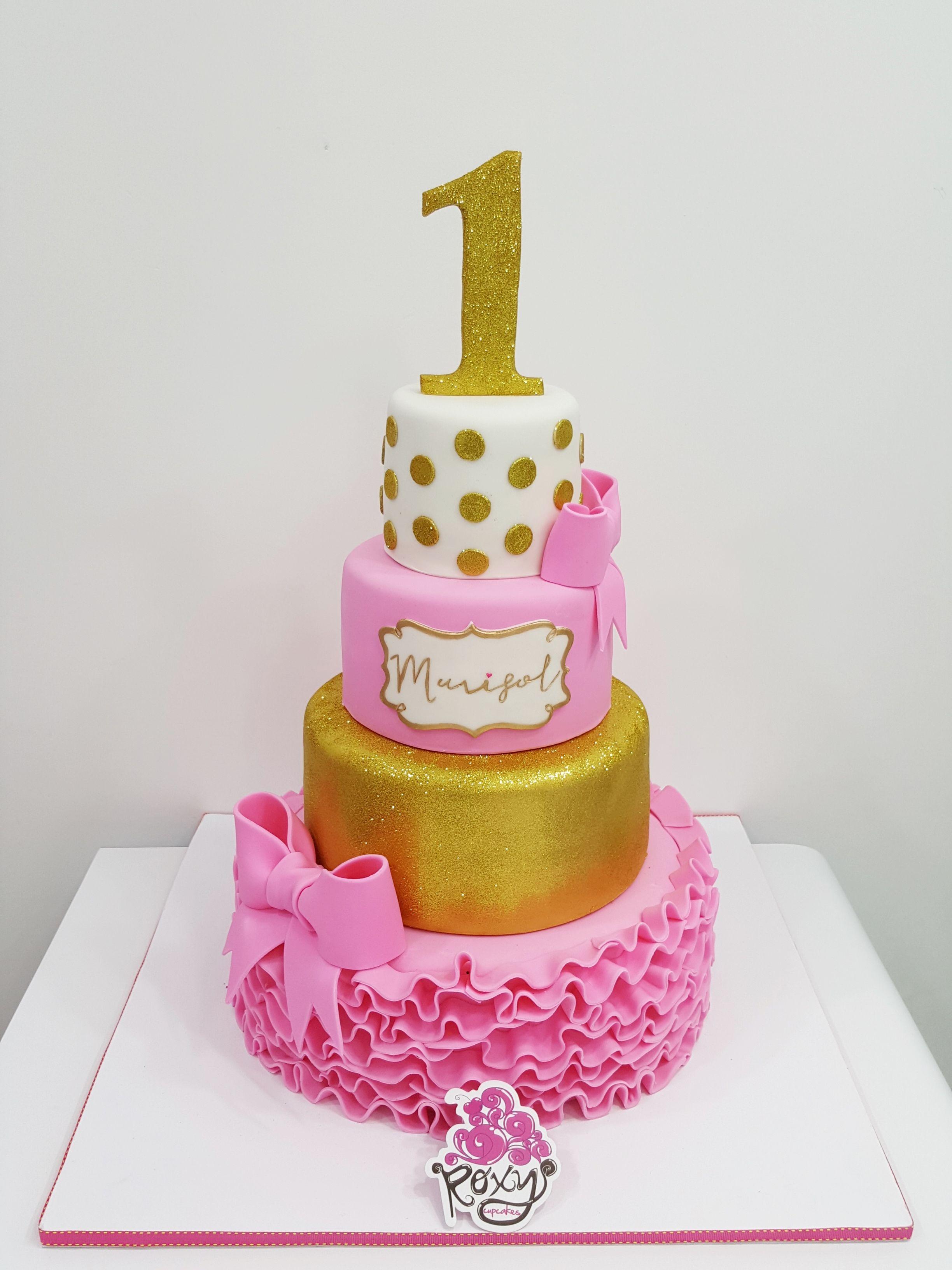 Pink and gold polka dot and ruffle birthday