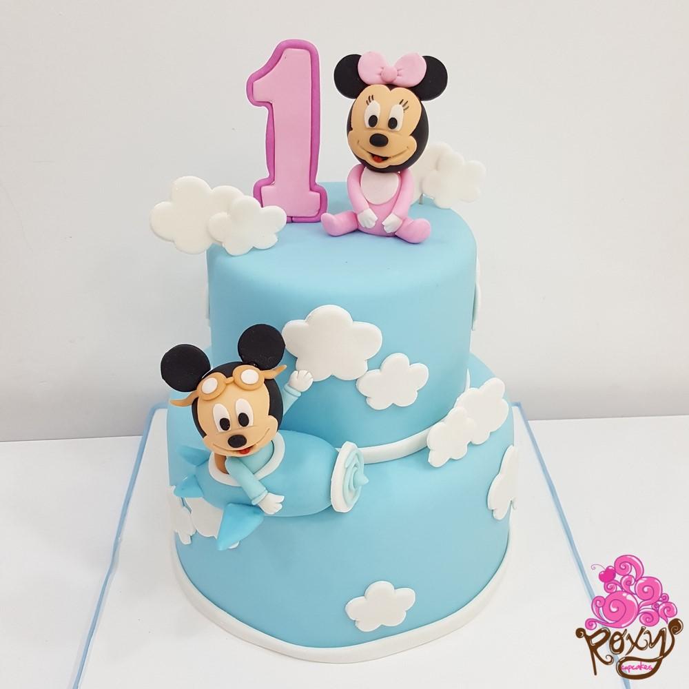Minnie and Mickey birthday and baby cake