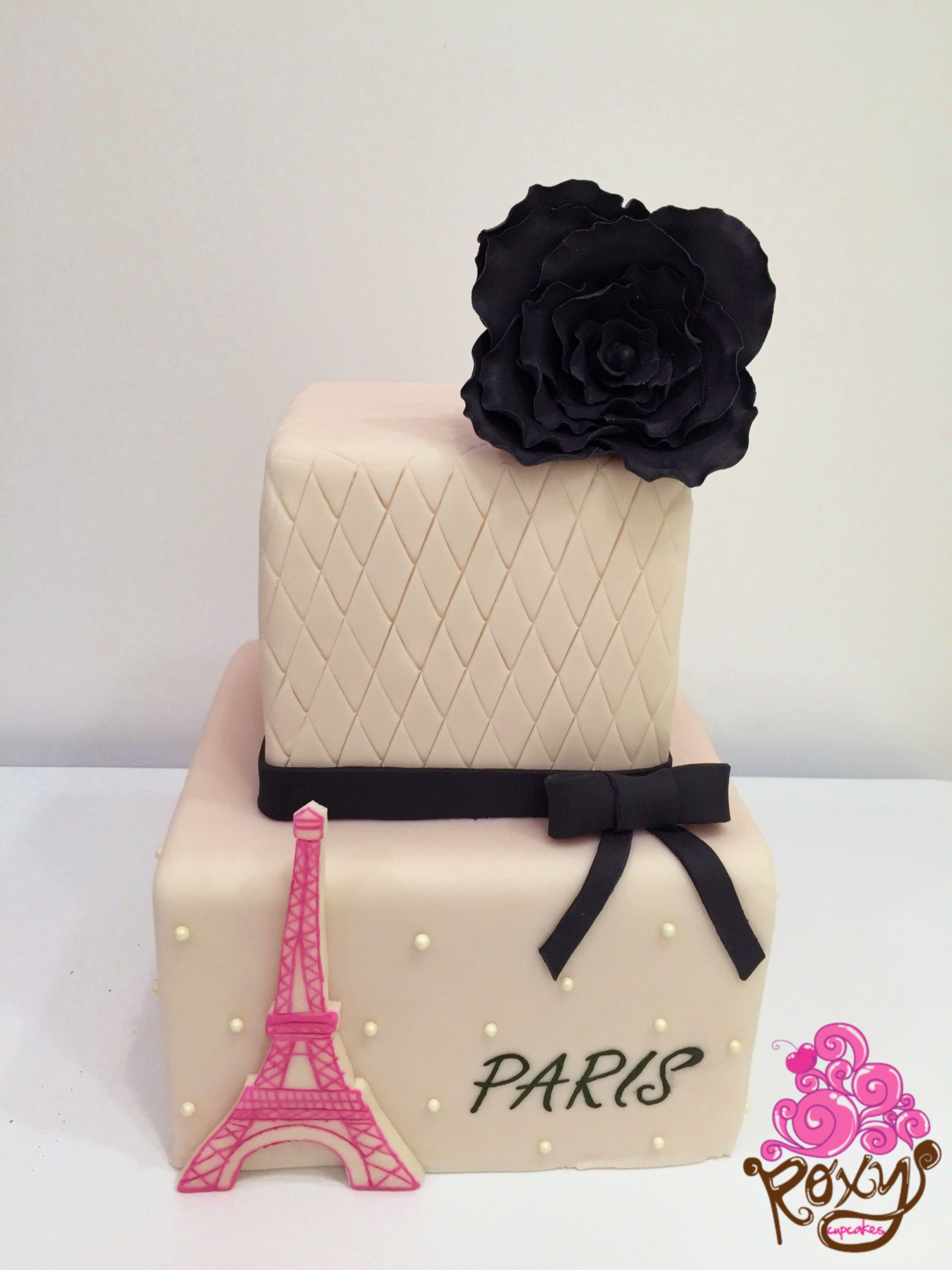 White and black Parisian fondant birthday cake