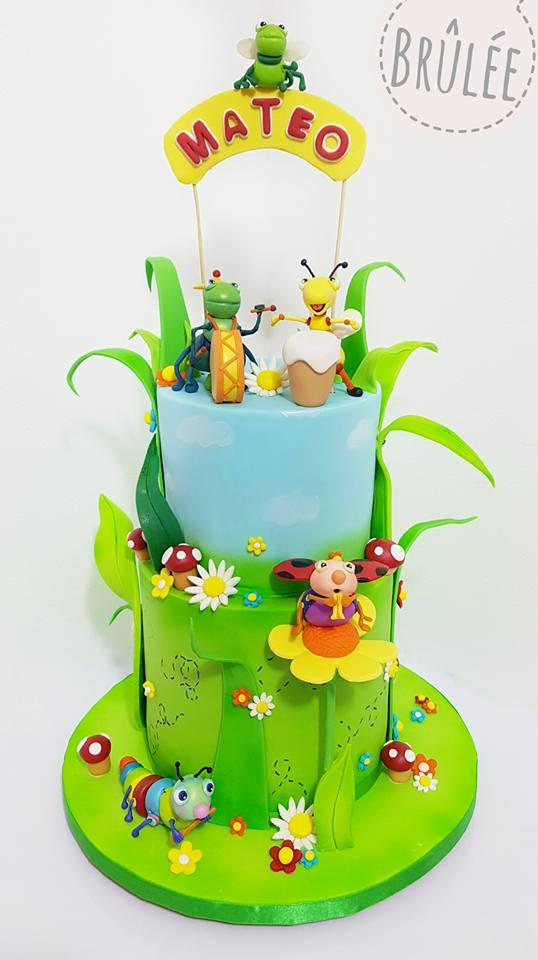 Bug themed boys birthday cake