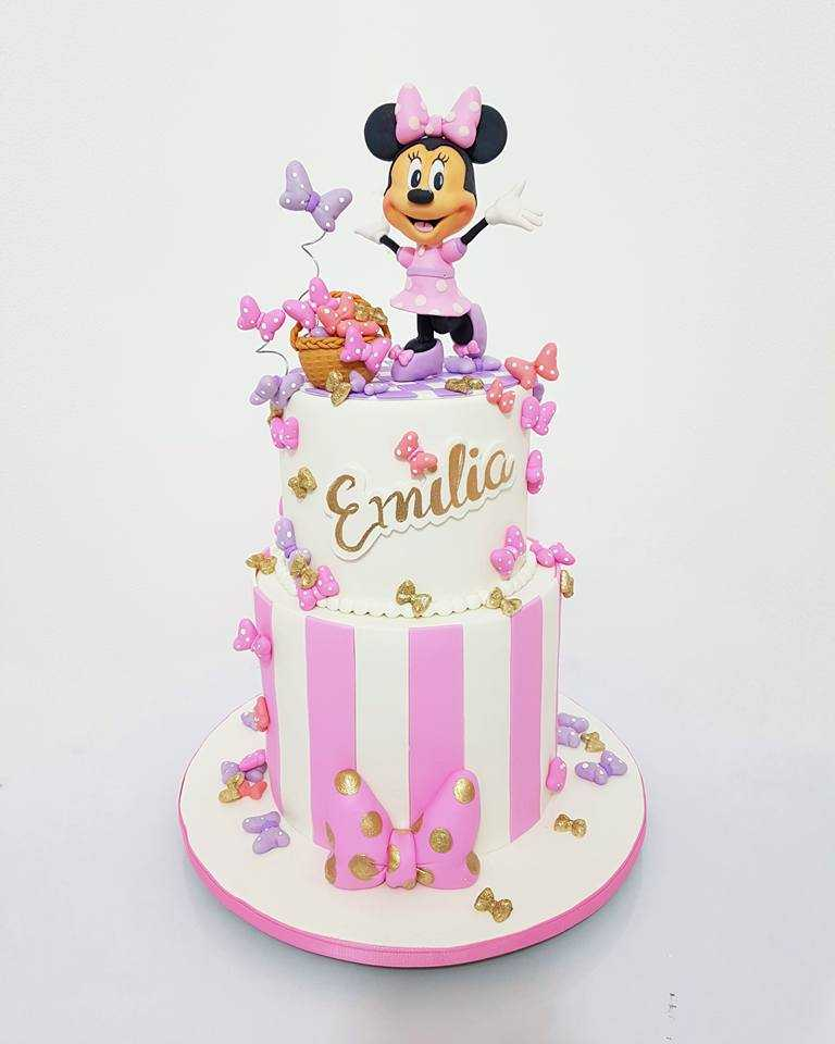 Pink and white minnie mouse birthday cake