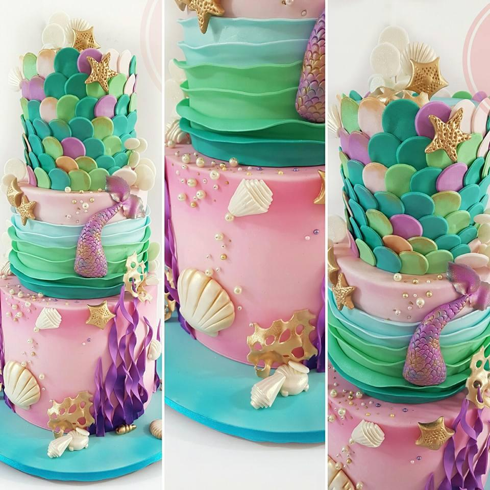Mermaid under the sea birthday cake