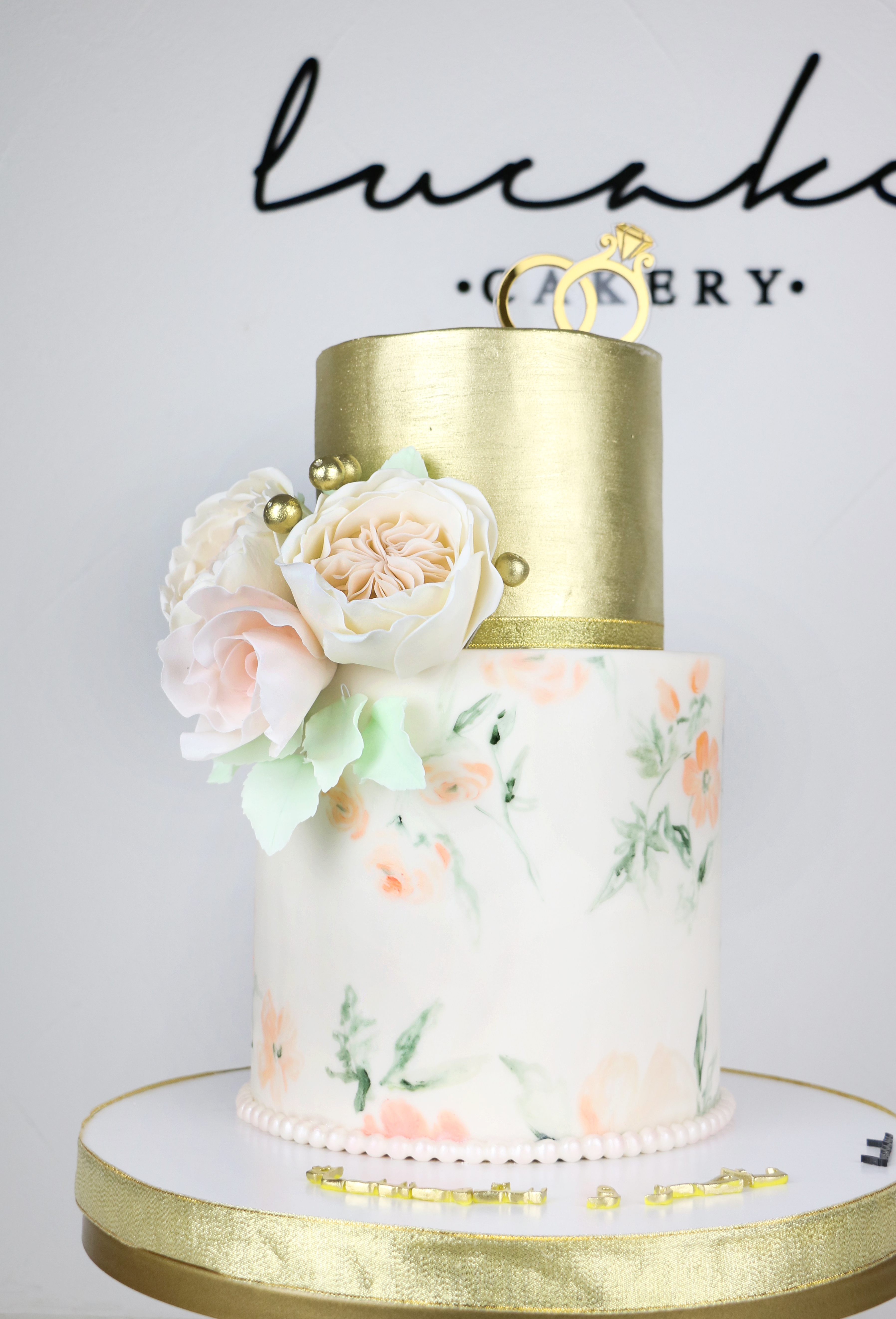 Gold and white hand painted wedding