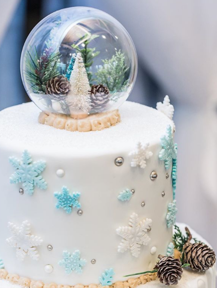 White fondant cake with snowflakes