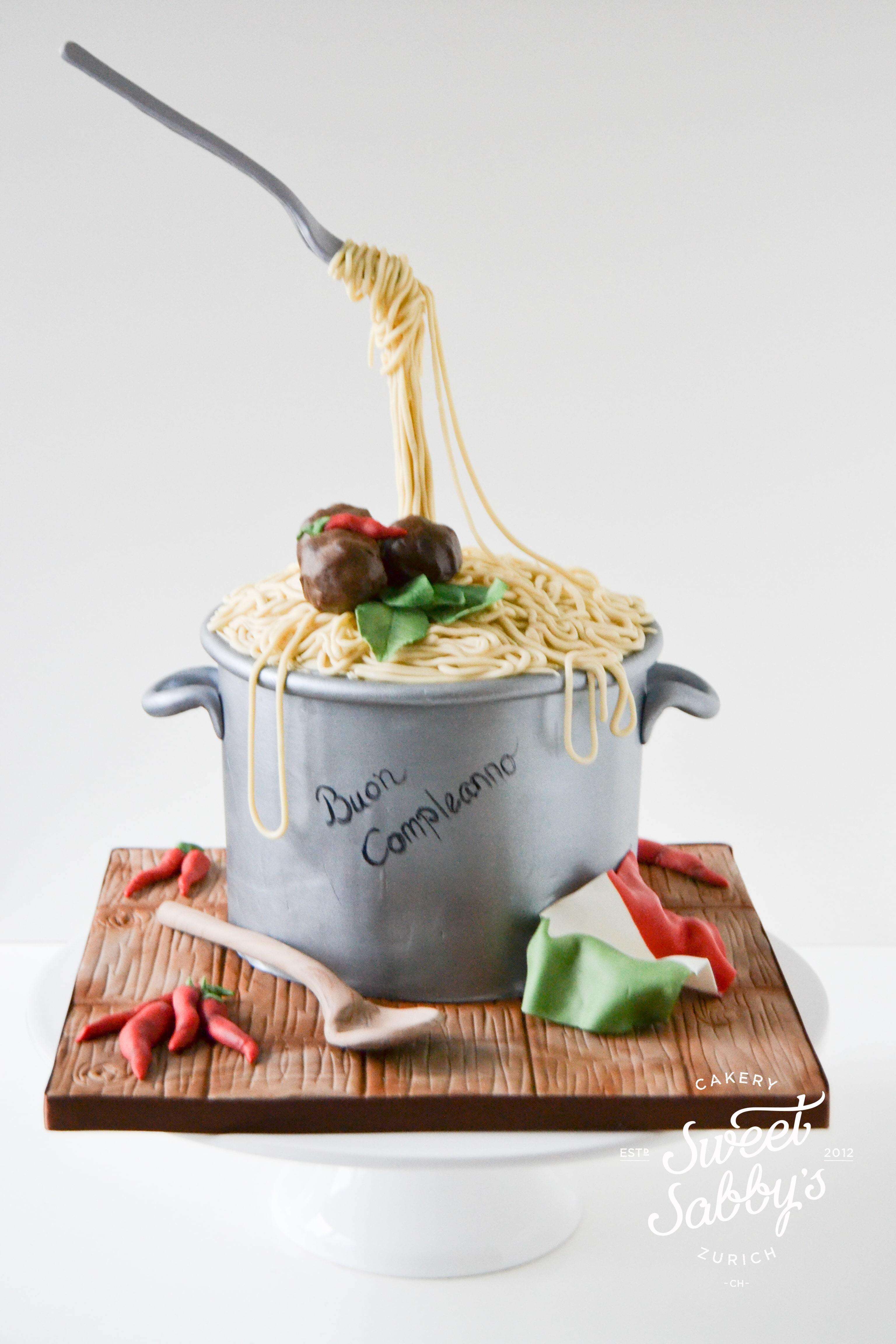 Bowl of Pasta fondant Cake