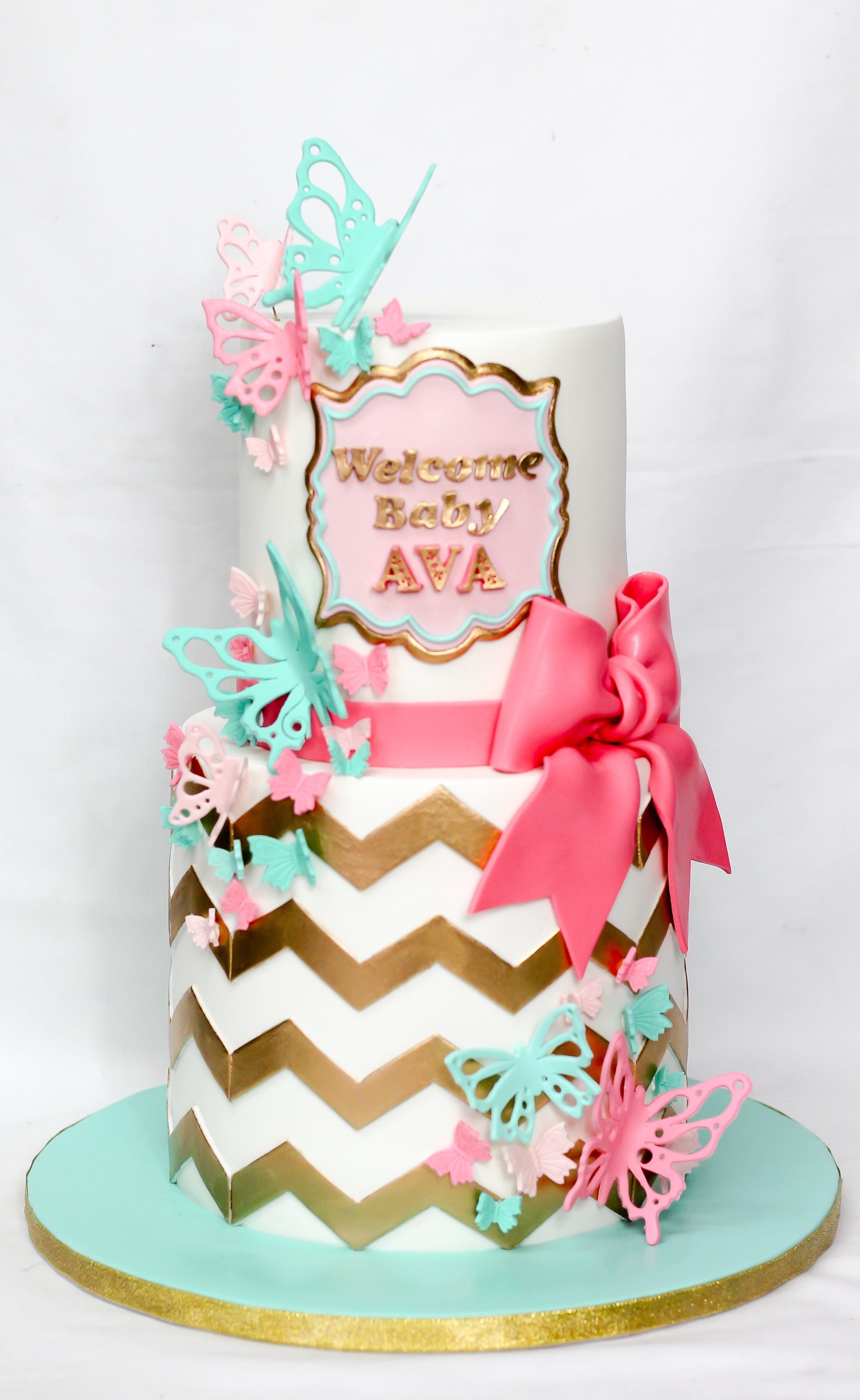 Gold and white chevron boho butterfly baby cake