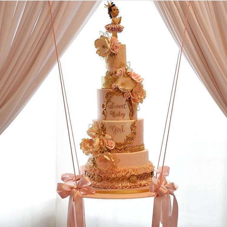 Gold and pink princess ballerina cake