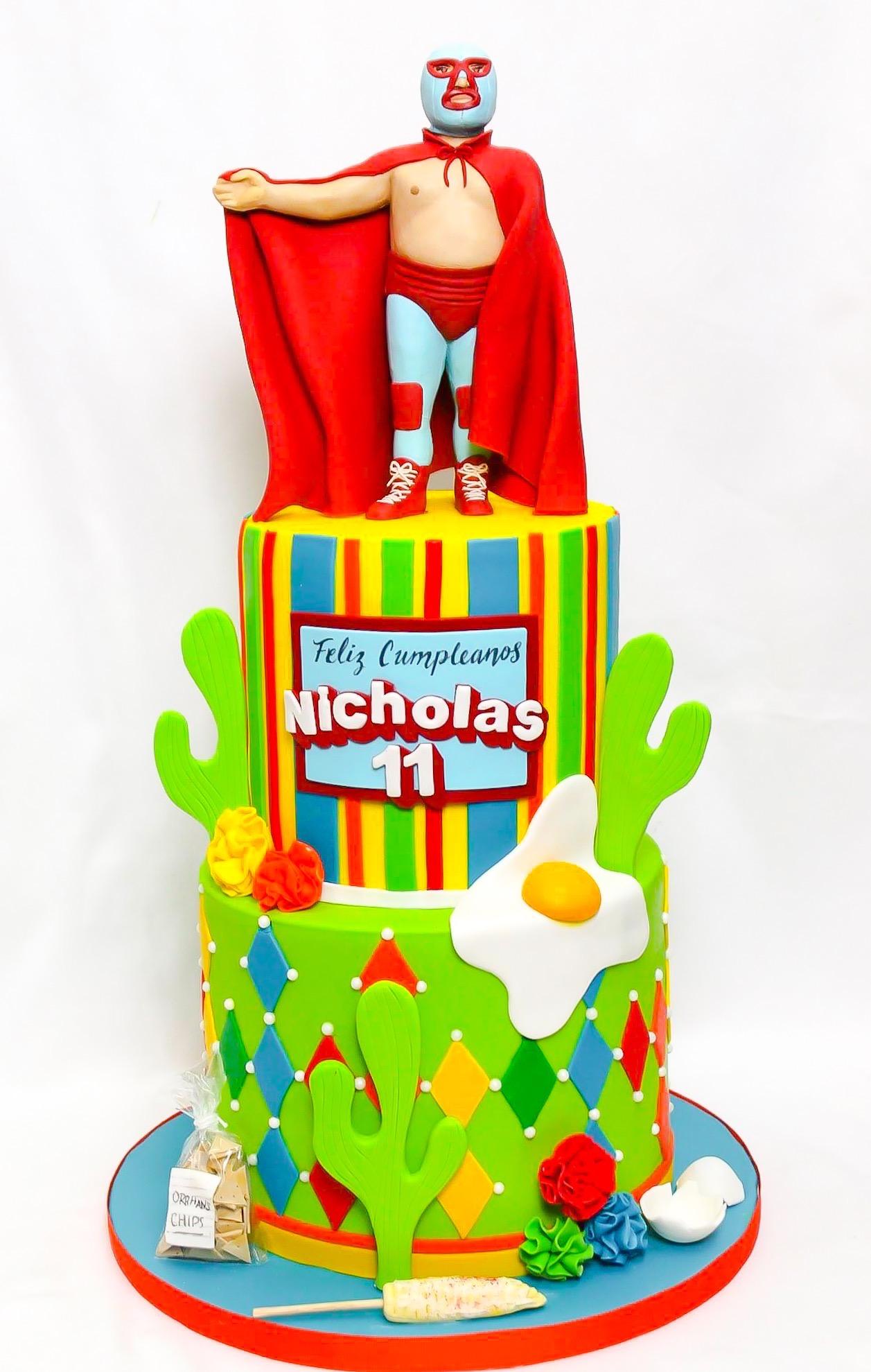 Nacho Libre themed birthday cake