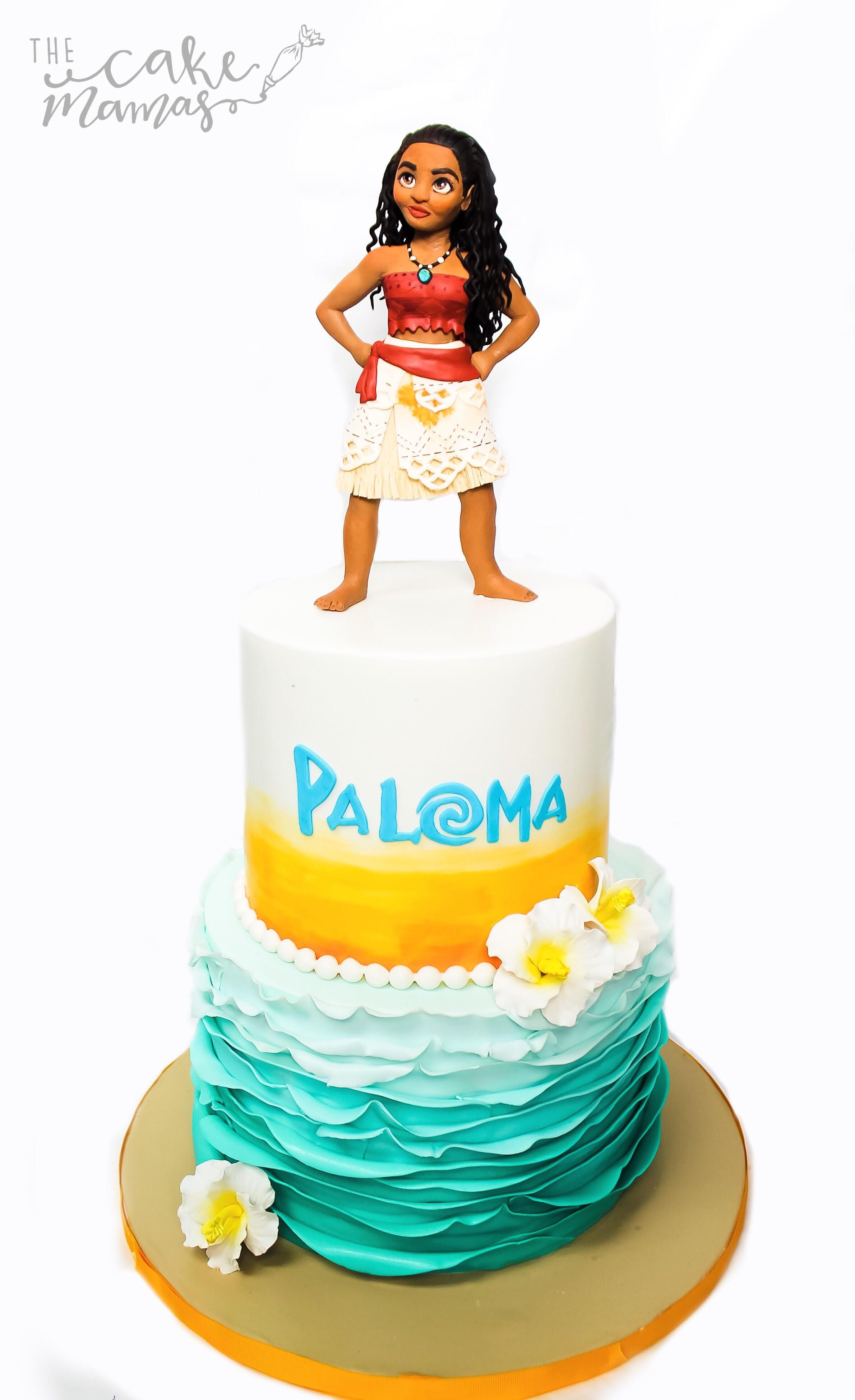 Hawaiian themed girls birthday cake