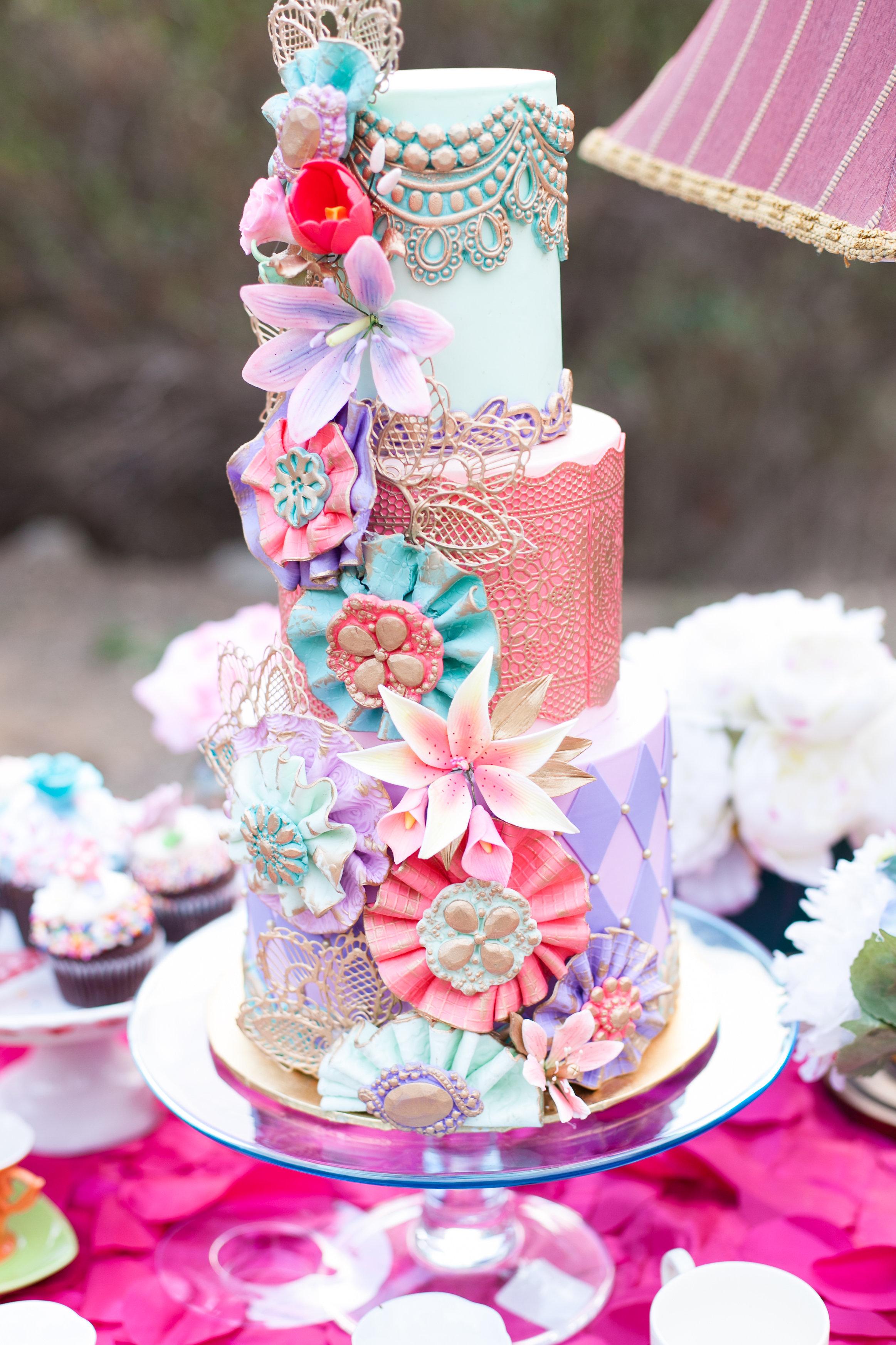 Bohemian themed fondant wedding cake