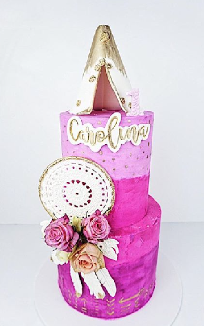 Pink Bohemian birthday cake with dreamcatcher