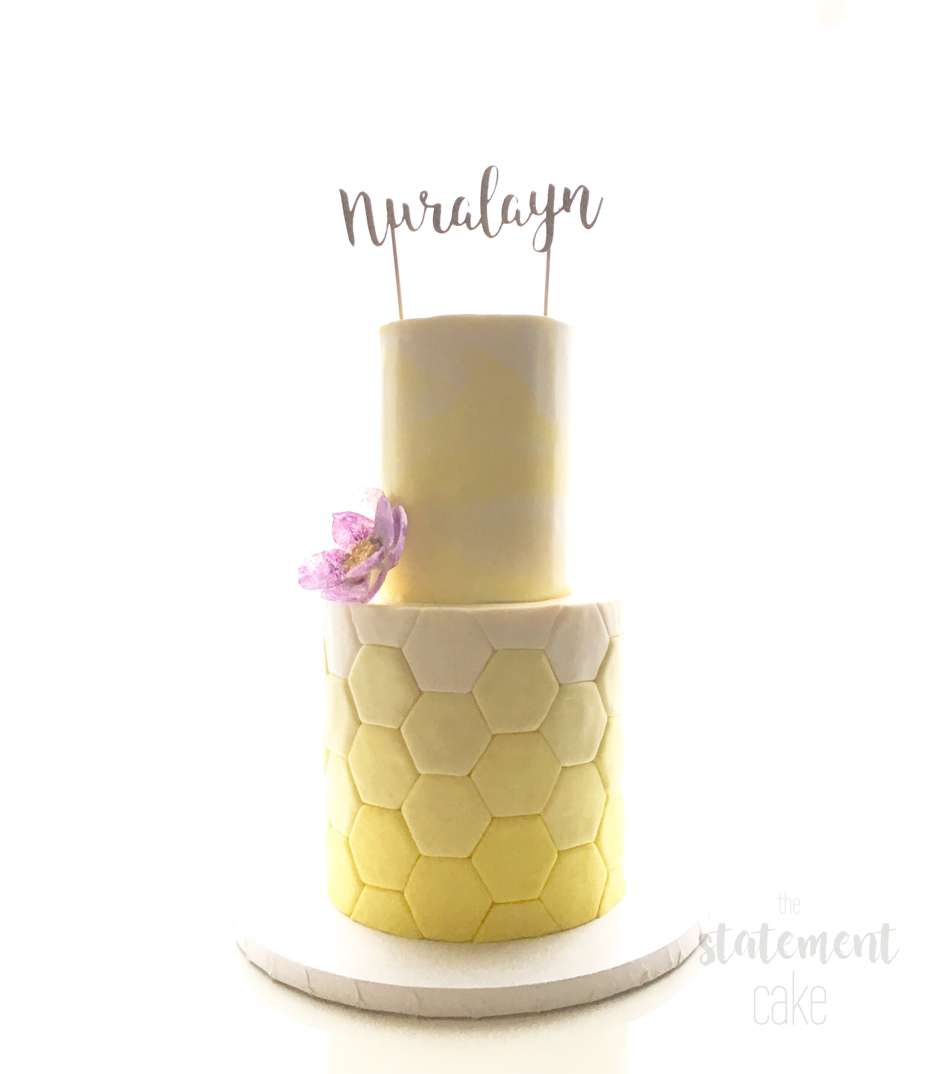 Yellow Ombre geometric fondant Wedding cake
