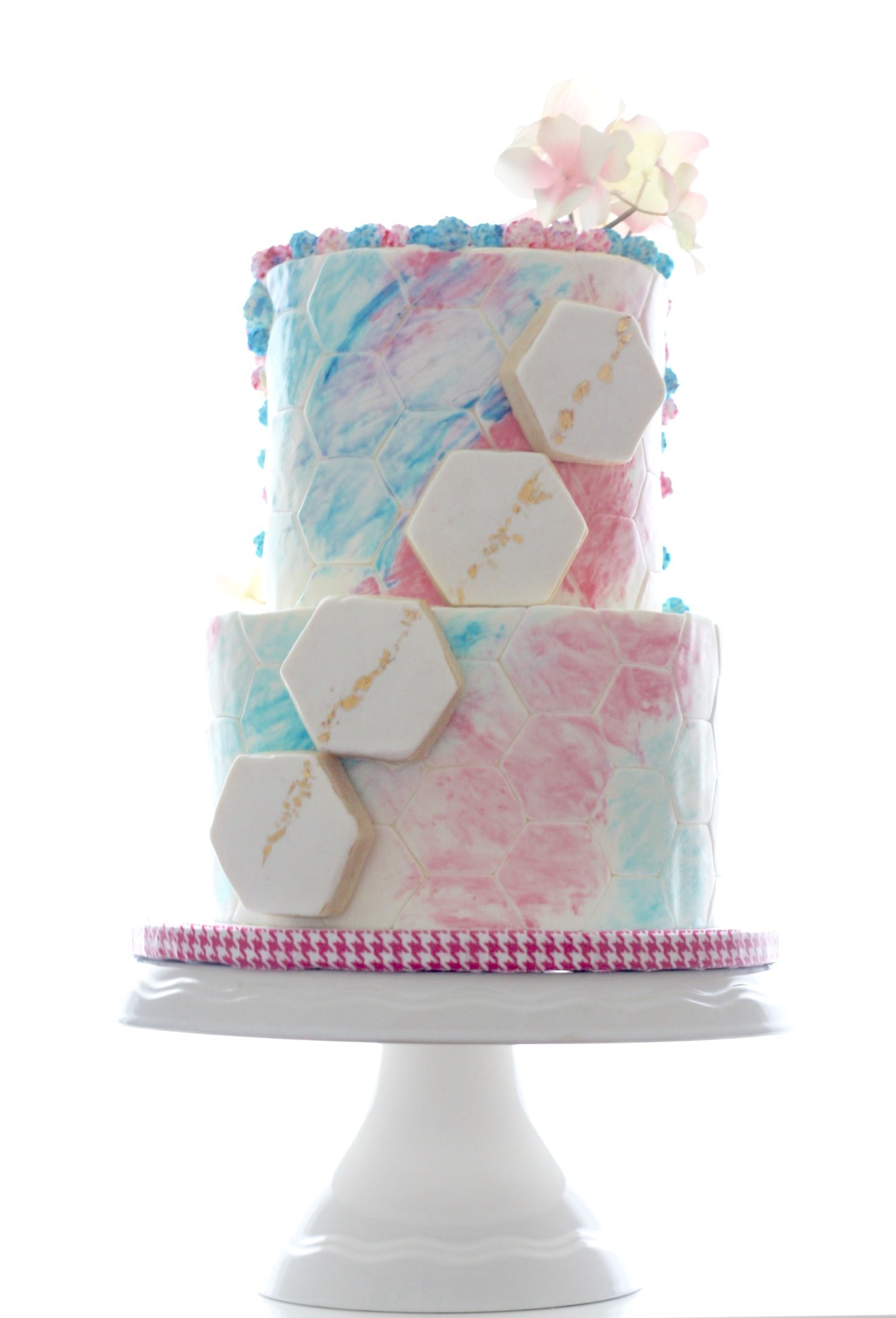 Pastel watercolor geometric fondant wedding cake