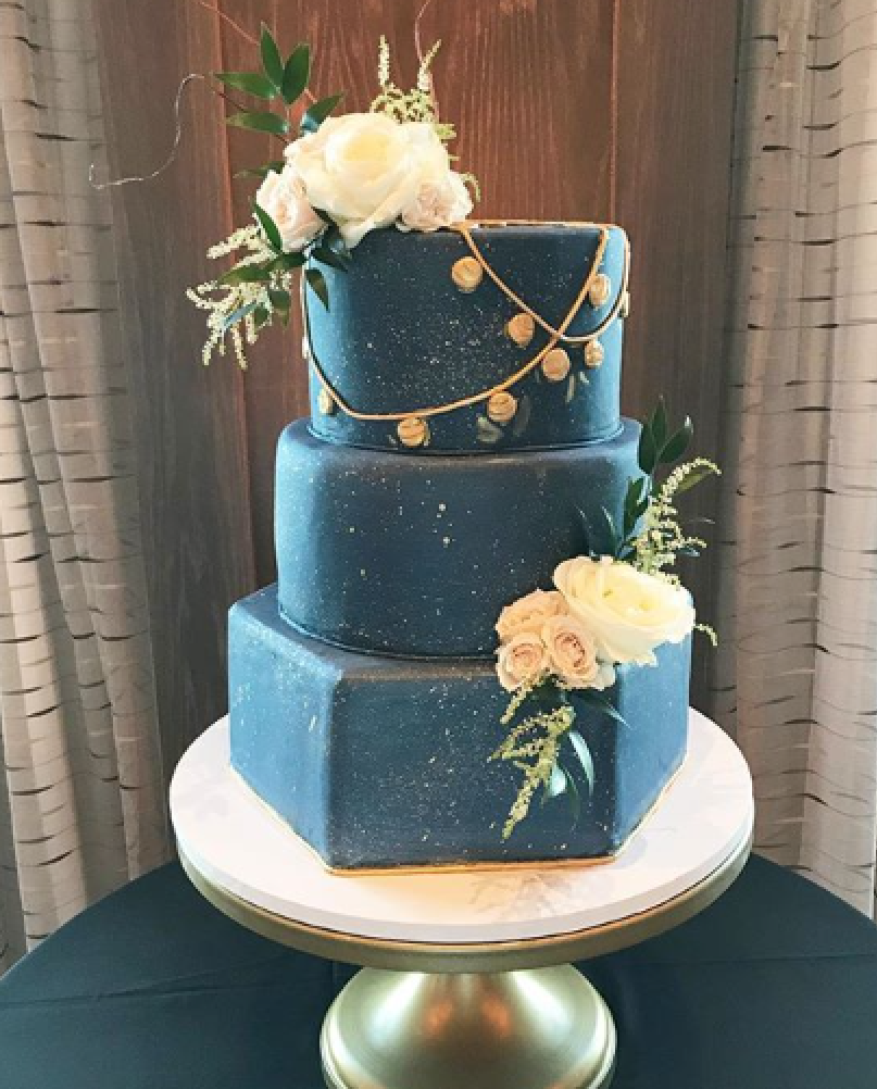 Elegant All navy blue fondant wedding cake