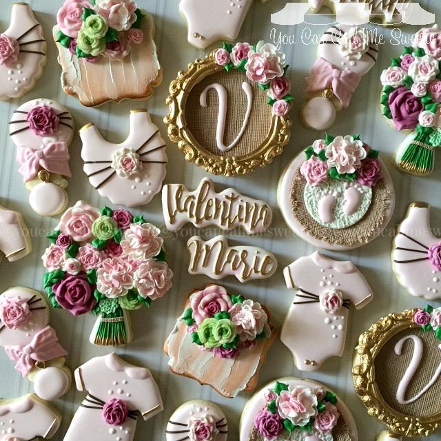 Rustic Baby girl fondant cookies