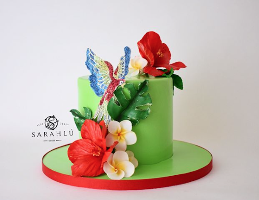 Bright green tropical fondant cake