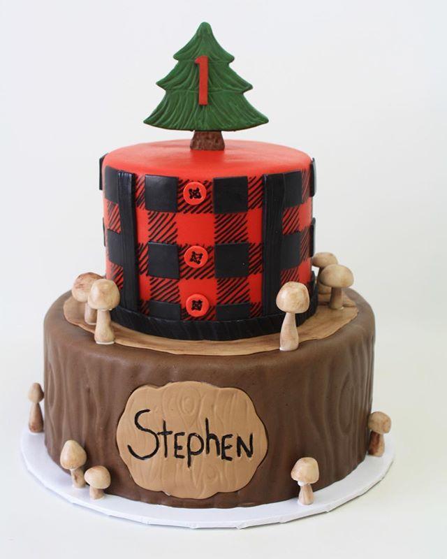 Woodland boys first birthday fondant cake