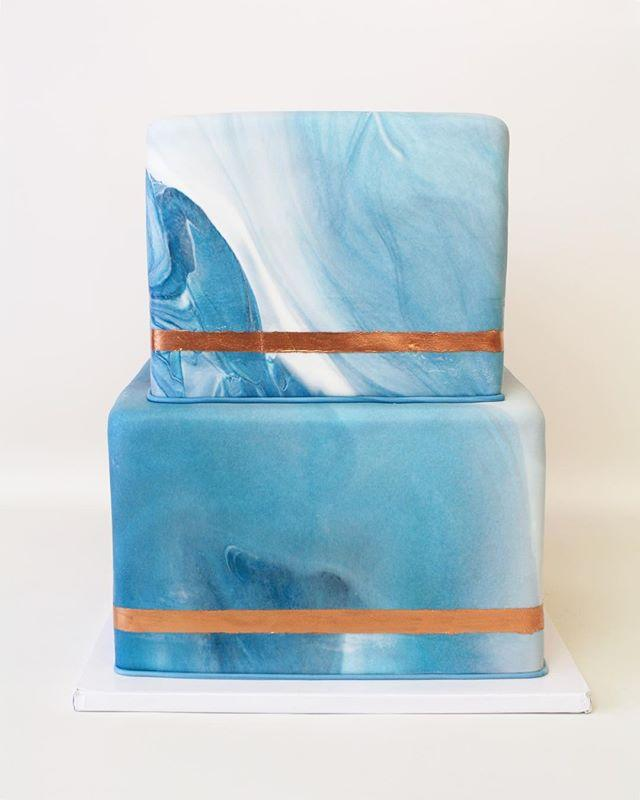 blue and white marbled square cake