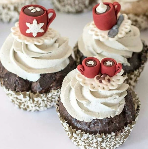 Hot cocoa fondant cupcake toppers