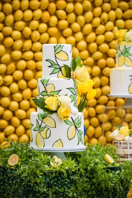 Handpainted Lemon design fondant cake