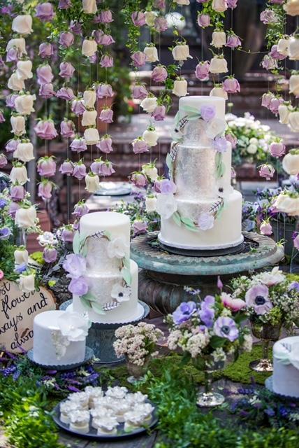 Silver Wedding Cake Dessert Table