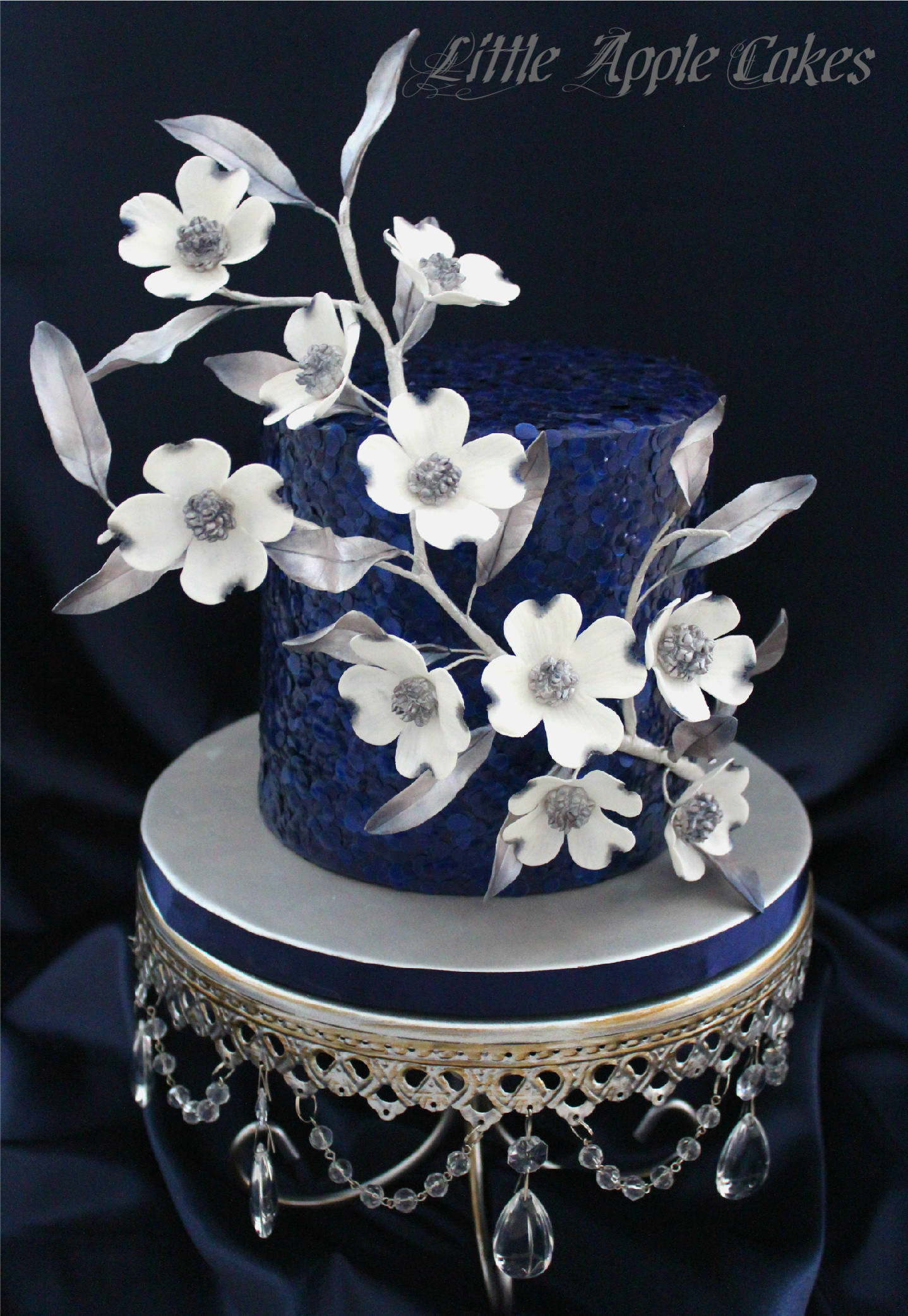 navy Blue Sparkle fondant cake white sugar flowers