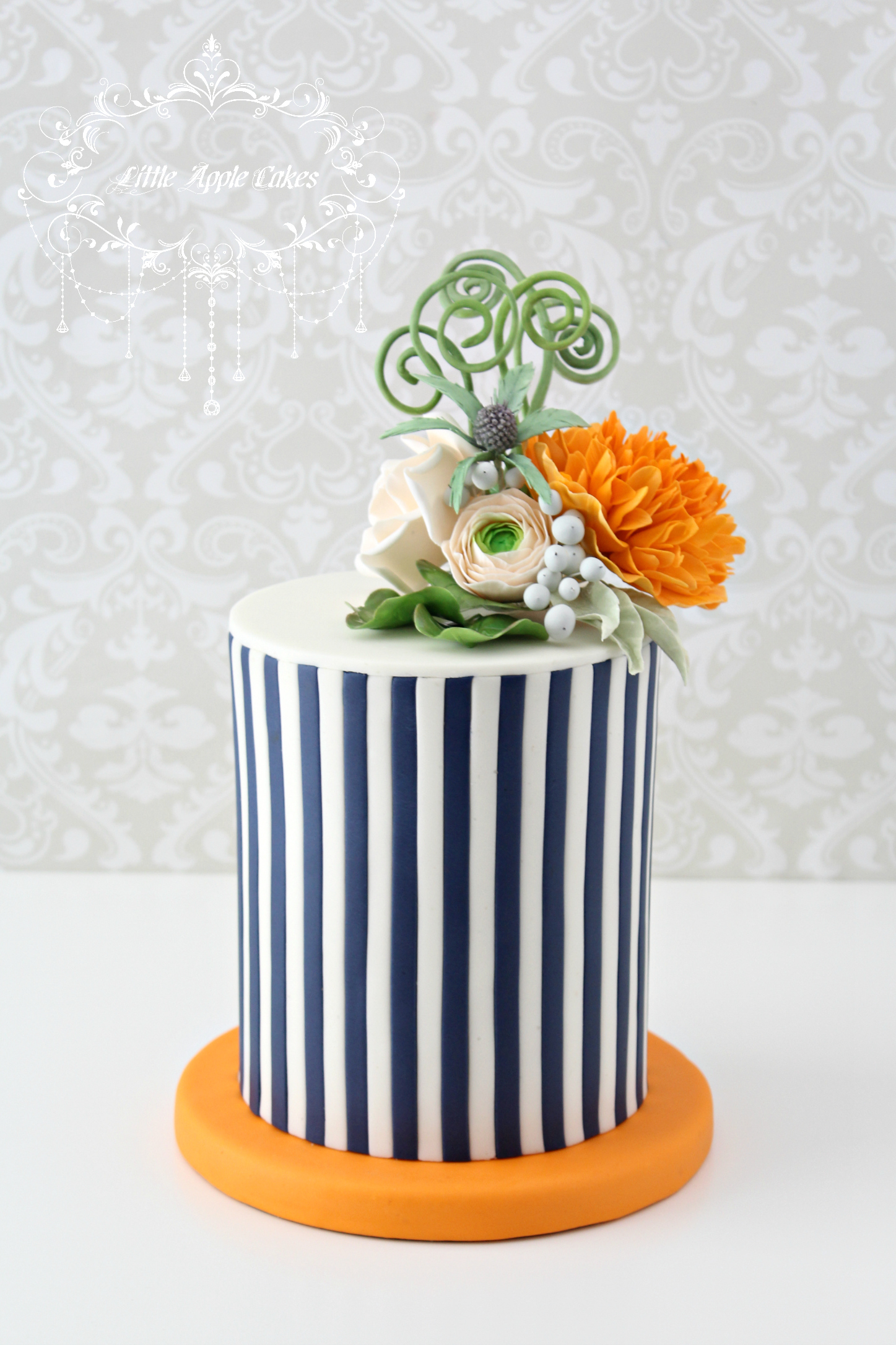 Blue & White Striped fondant Wedding with Sugar Flowers