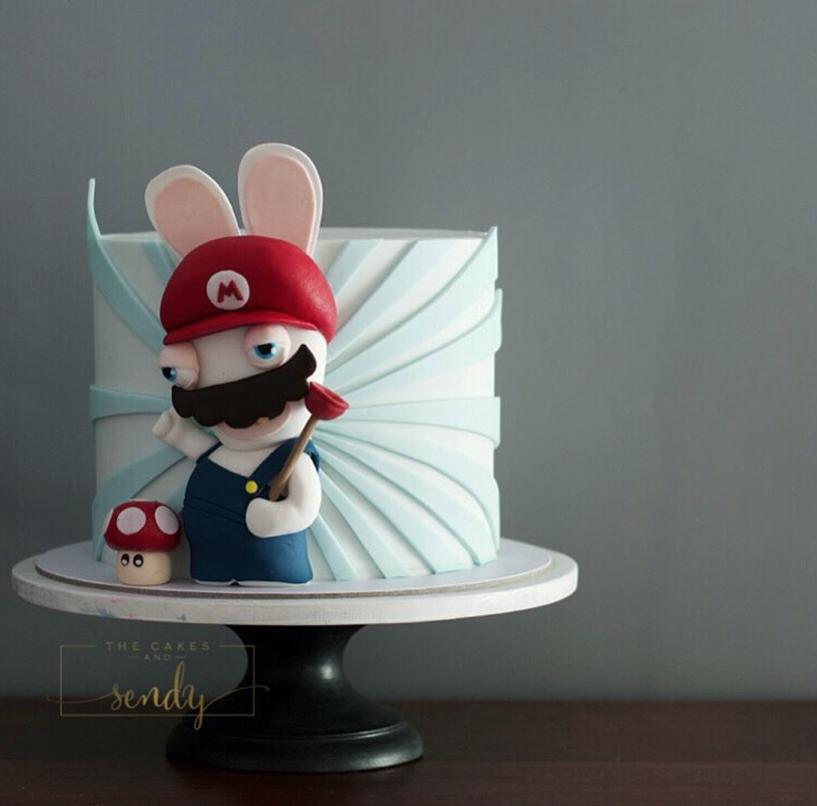 Mario brothers fondant birthday cake