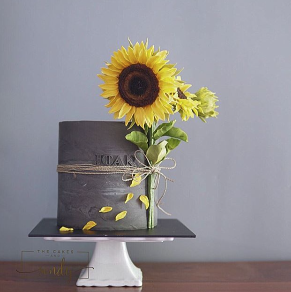 Gray stone textured fondant cake with Sunflowers