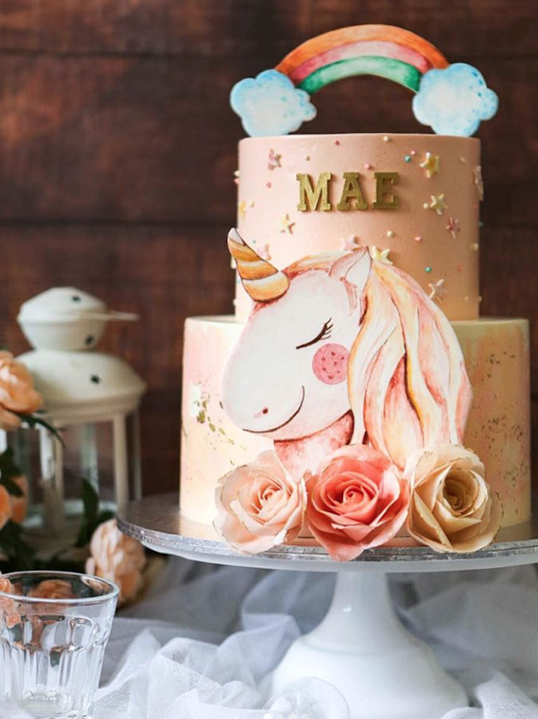 Peach fondant unicorn cake