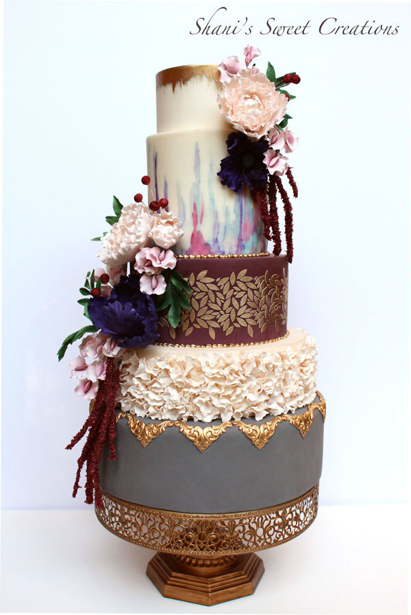 Burgundy Boho dreamcatcher wedding cake