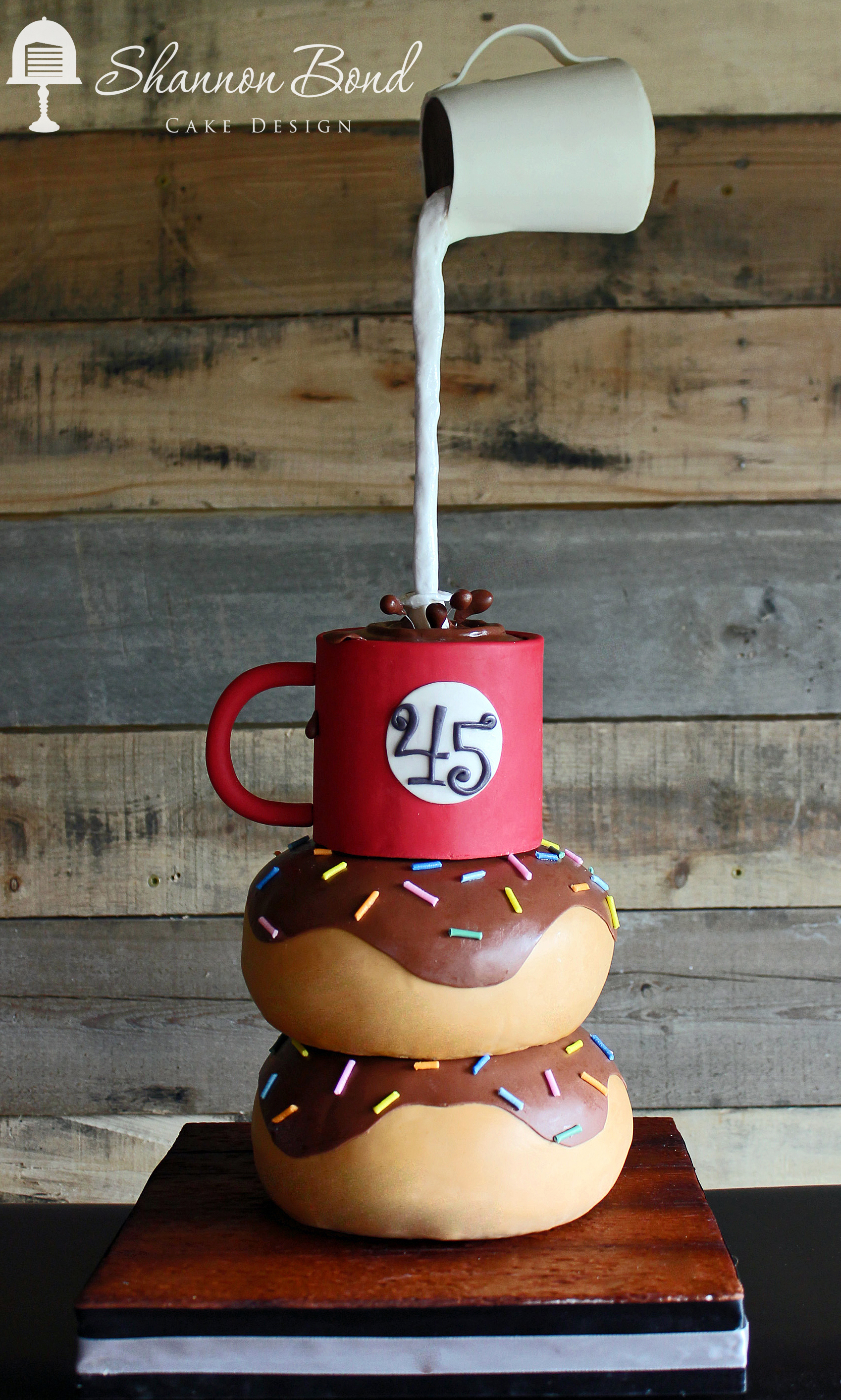 Coffee cup & stackable donut fondant cake