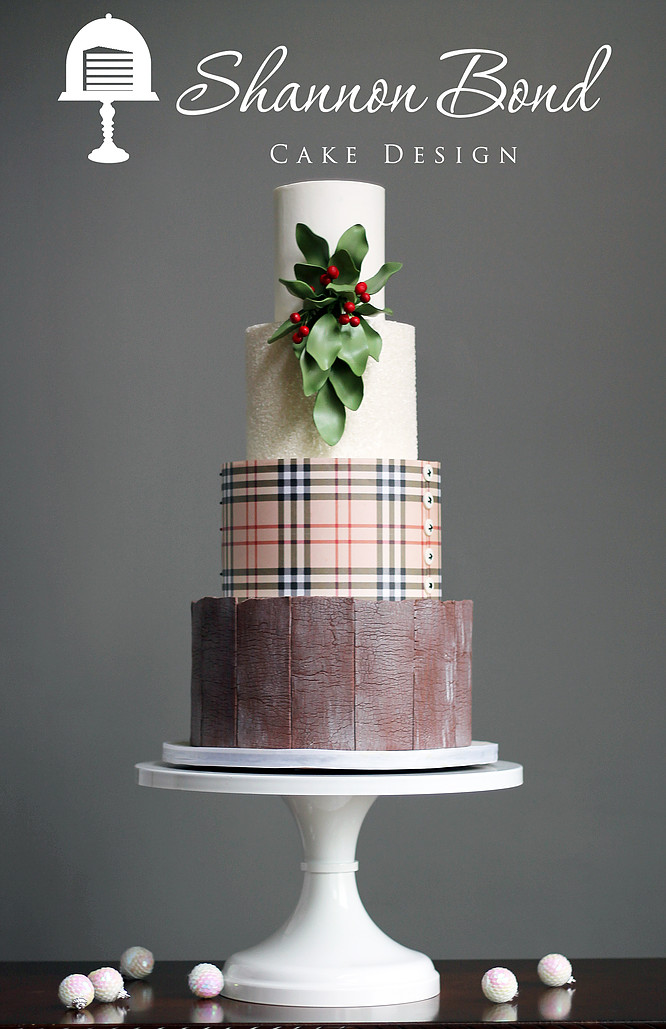 Rustic fondant wedding cake with Christmas plaid pattern