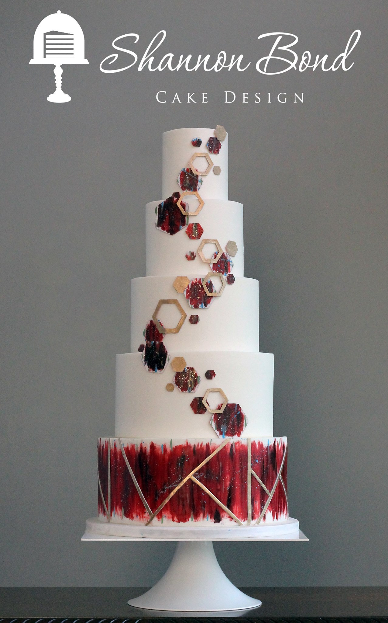 White and dark red geometric wedding cake