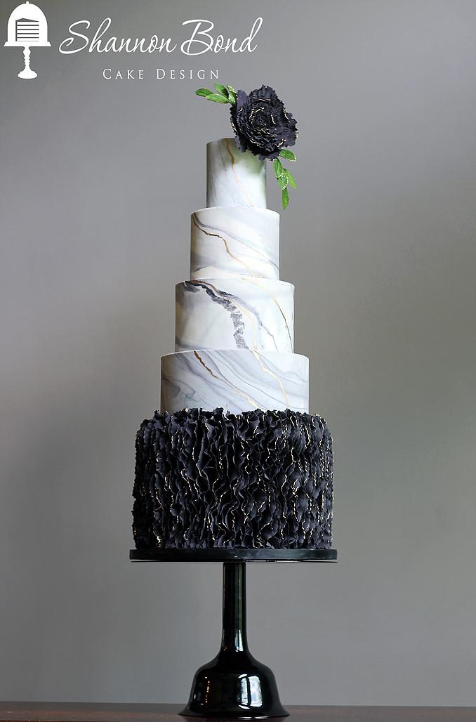 Gray marble with black ruffle wedding cake