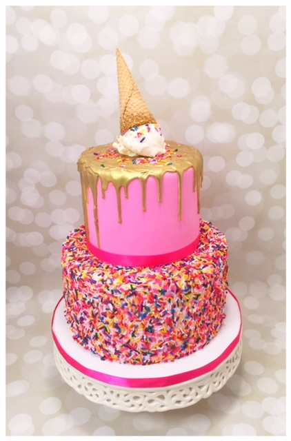 Ice Cream sprinkle drip birthday cake