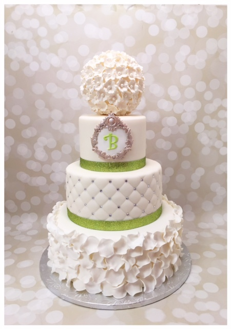 White ruffle monogramed wedding
