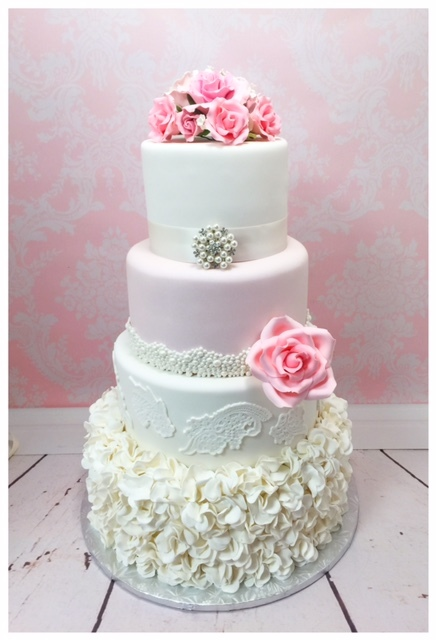 White & Pink Ruffle Wedding
