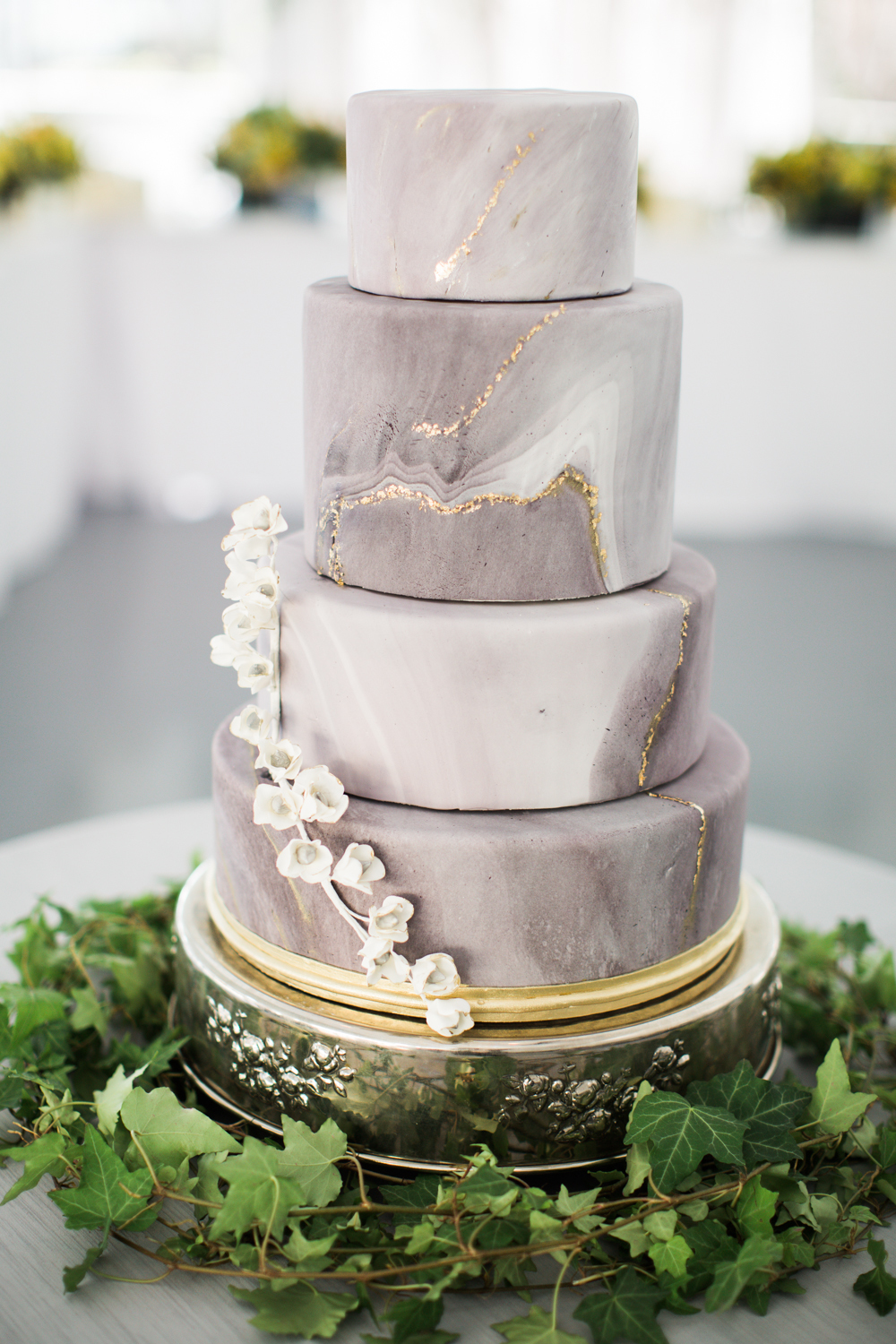 Gray & white marbled fondant wedding cake