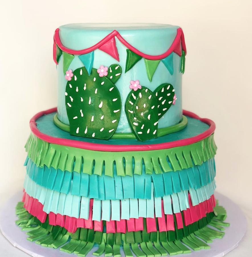 Cactus piñata birthday cake