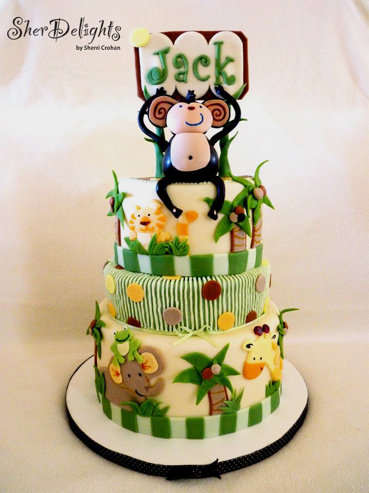 Monkey safari themed baby boy cake