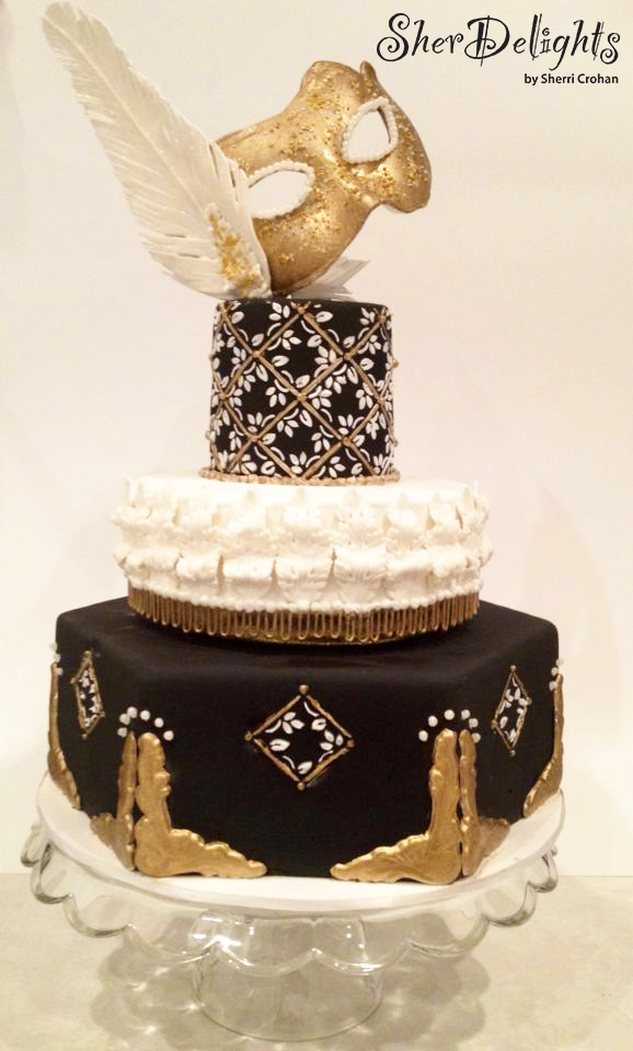Gold and Black masquerade fondant wedding cake
