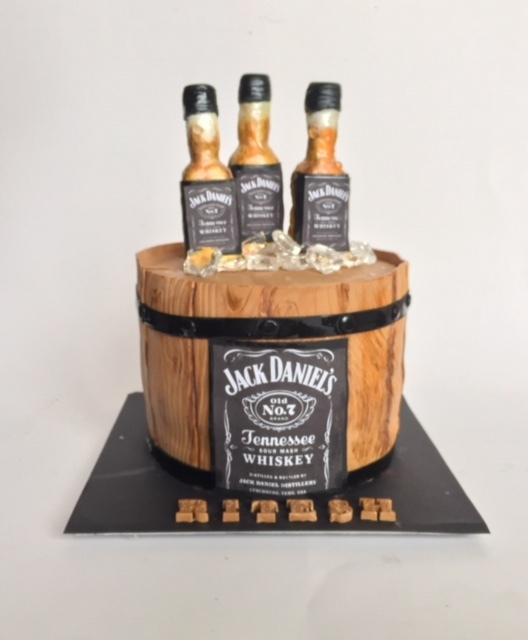 Barrel of beer fondant birthday cake