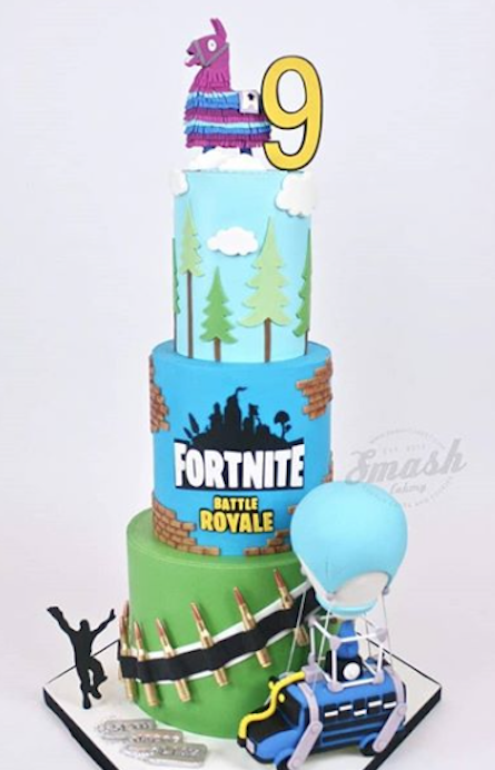 Fortnite fondant birthday cake